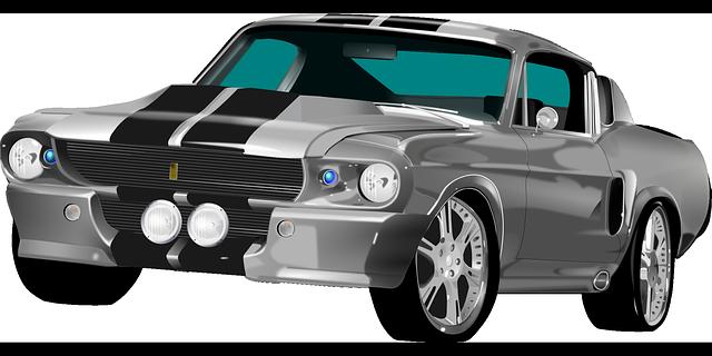 stříbrný ford mustang
